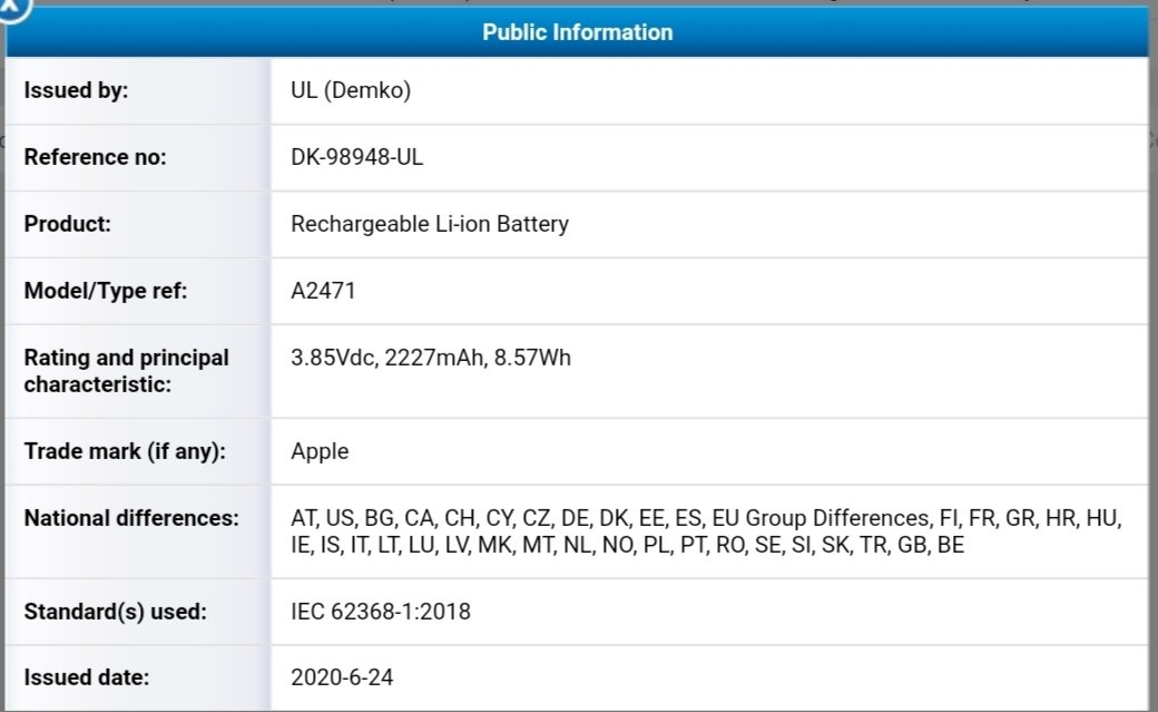 iPhone 12 Battery Size Spotted on Certificate Site